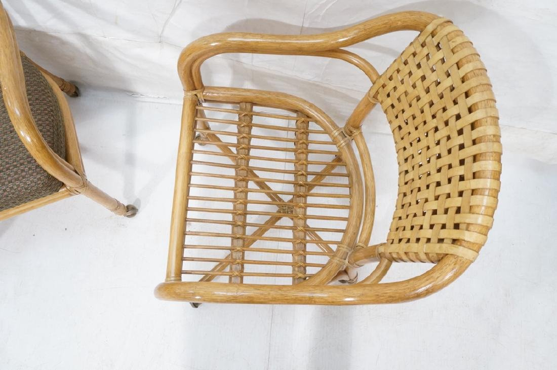 Set 4 MCGUIRE Rattan & Leather Arm Dining Chairs. - 7