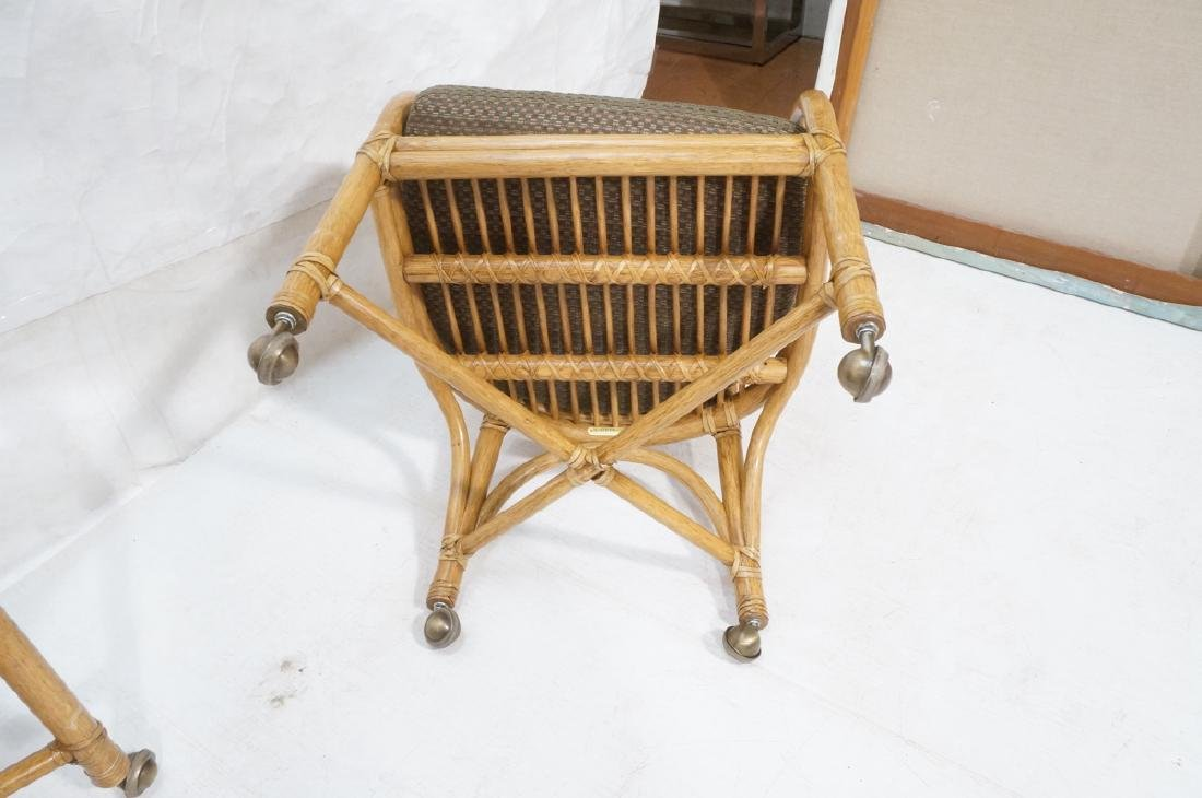 Set 4 MCGUIRE Rattan & Leather Arm Dining Chairs. - 8
