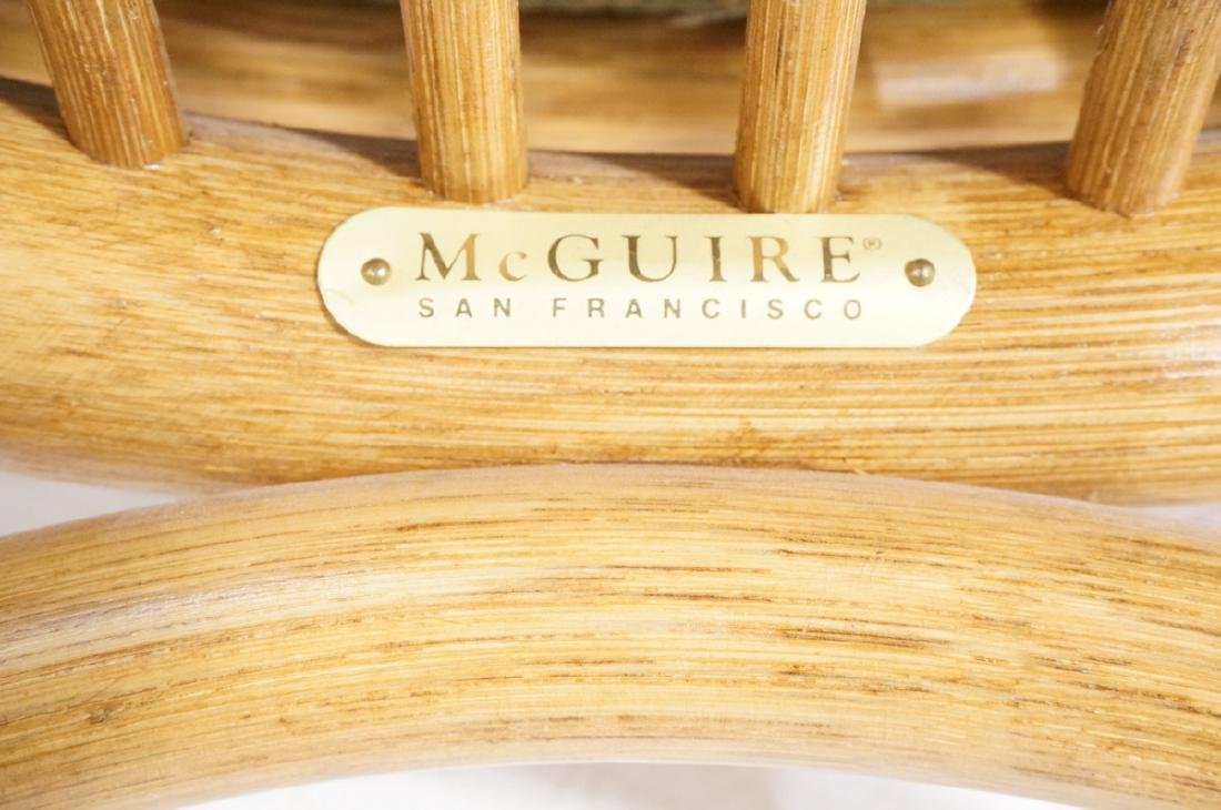 Set 4 MCGUIRE Rattan & Leather Arm Dining Chairs. - 9