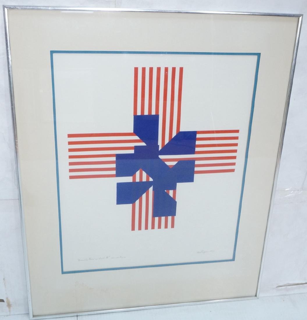 CASTAGNO 1970 Graphic Red & Blue Silkscreen Print