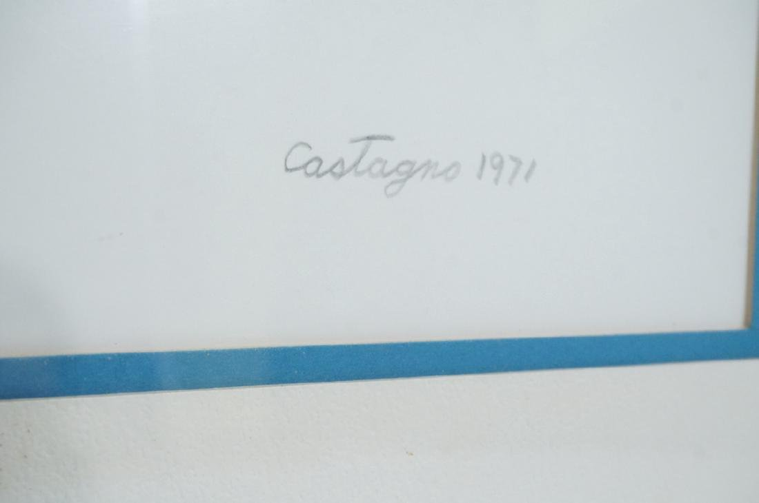 CASTAGNO 1970 Graphic Red & Blue Silkscreen Print - 2