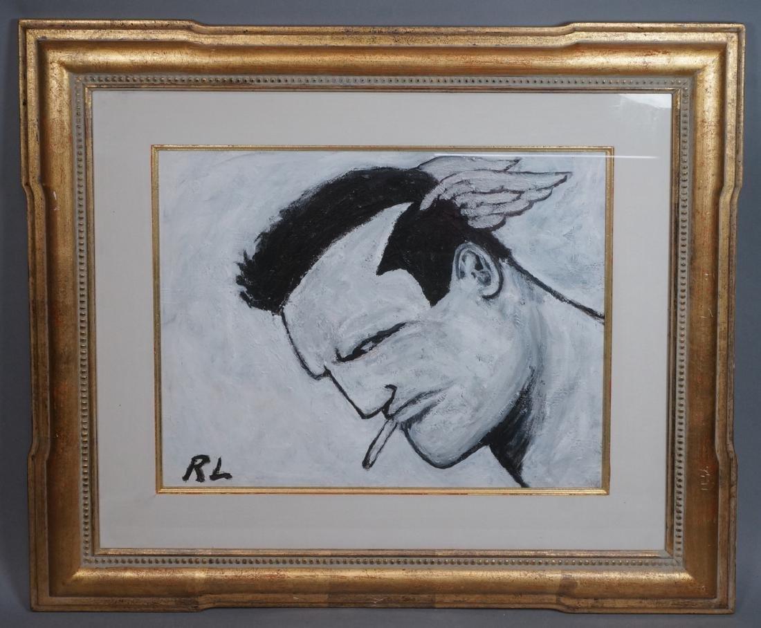 ROBERT LOUGHLIN Black & White Oil. Iconic portrai