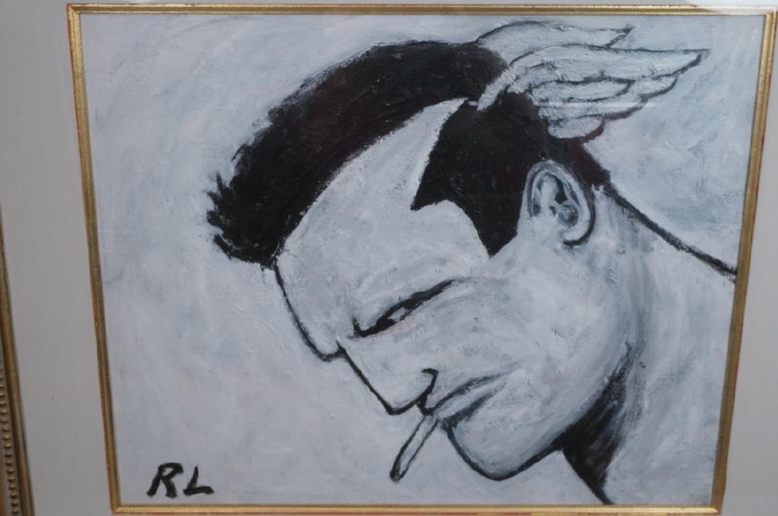 ROBERT LOUGHLIN Black & White Oil. Iconic portrai - 7