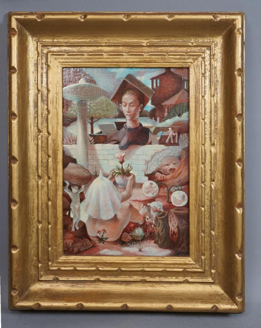 H DAVID HOMAN Surreal Oil Painting Outdoor Scene