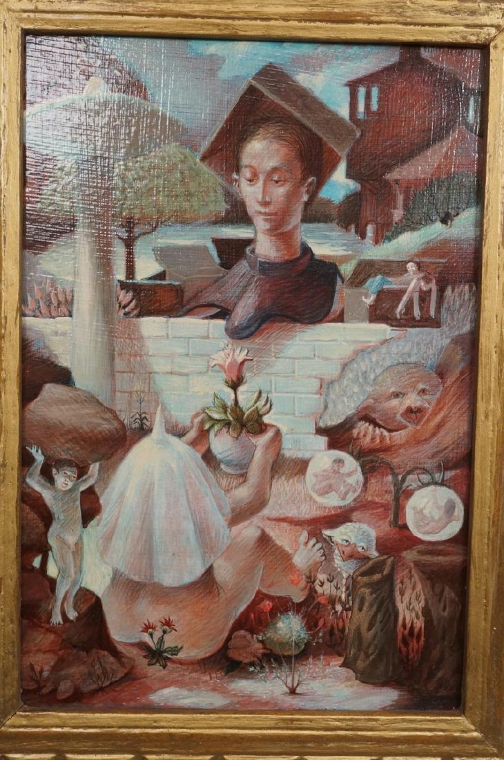 H DAVID HOMAN Surreal Oil Painting Outdoor Scene - 2