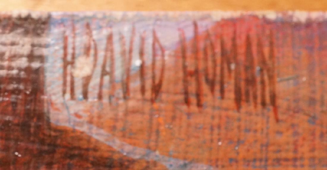 H DAVID HOMAN Surreal Oil Painting Outdoor Scene - 8