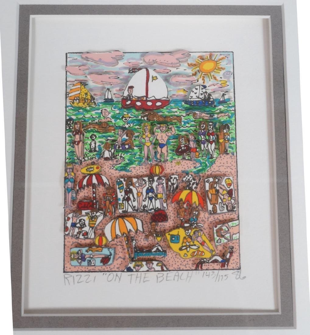 "JAMES RIZZI 3D Litho Print Art ""On the Beach"" Pen"