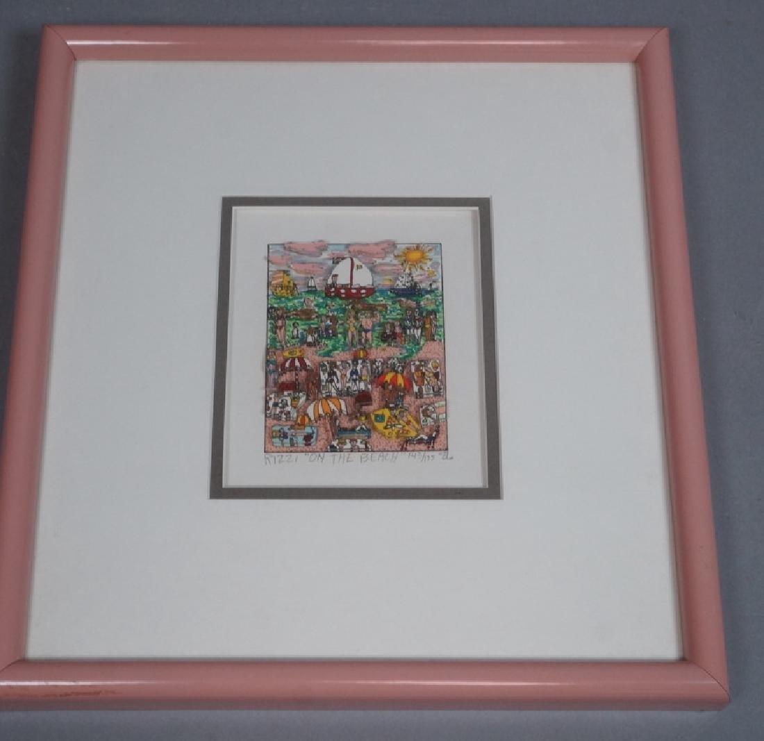 "JAMES RIZZI 3D Litho Print Art ""On the Beach"" Pen - 2"