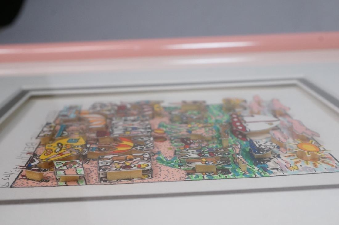 "JAMES RIZZI 3D Litho Print Art ""On the Beach"" Pen - 5"