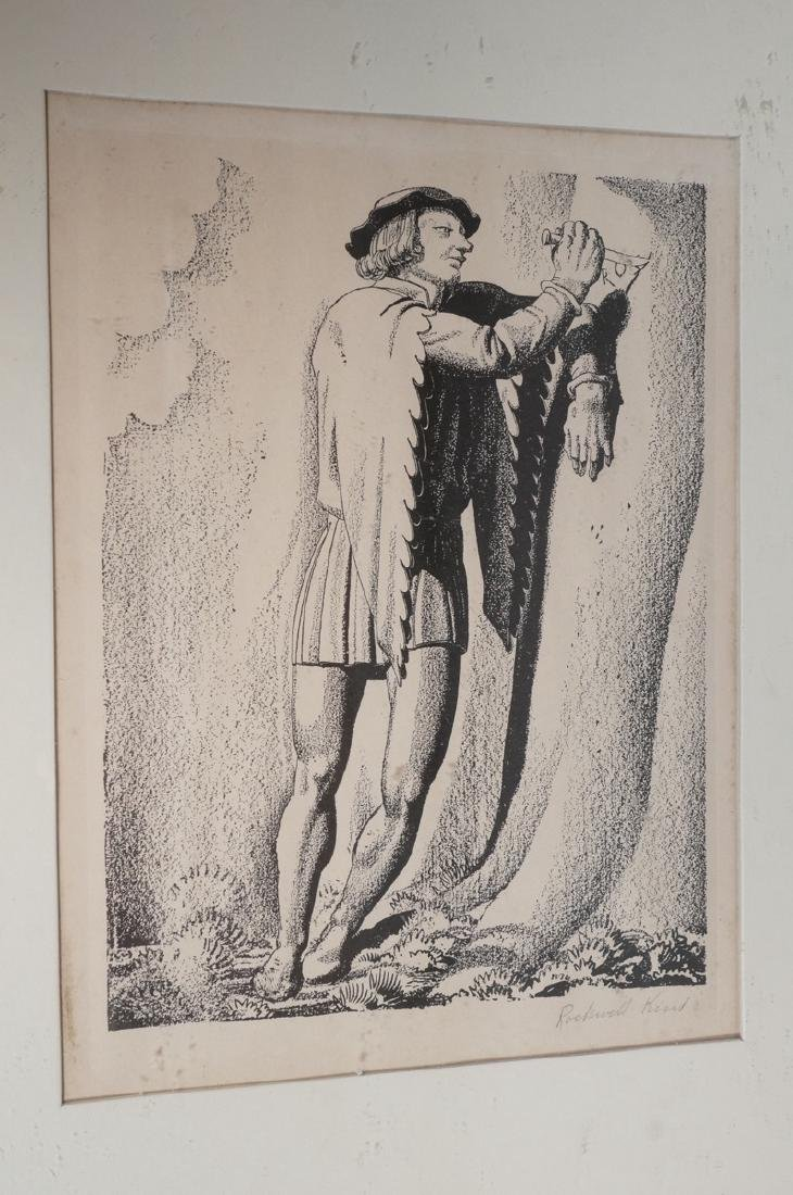 ROCKWELL KENT Pencil Signed Lithograph. Man carvi
