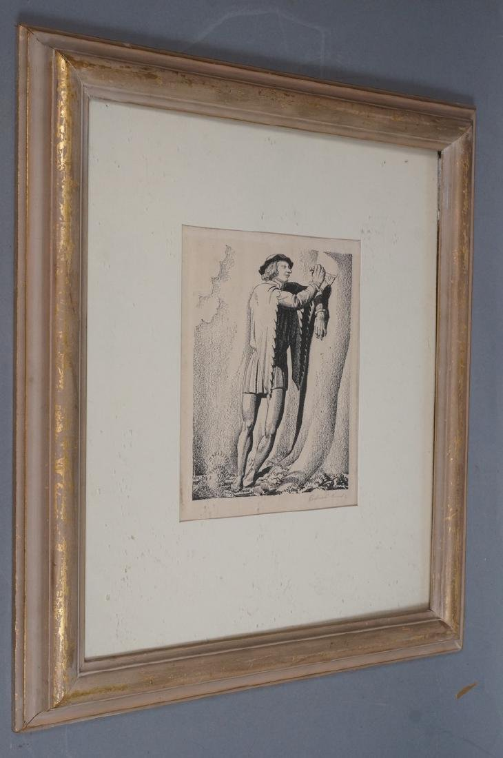 ROCKWELL KENT Pencil Signed Lithograph. Man carvi - 2