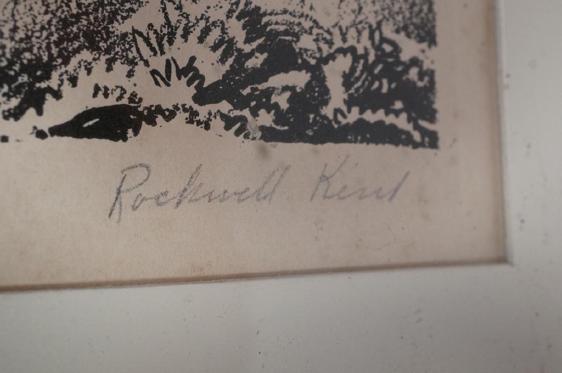 ROCKWELL KENT Pencil Signed Lithograph. Man carvi - 3
