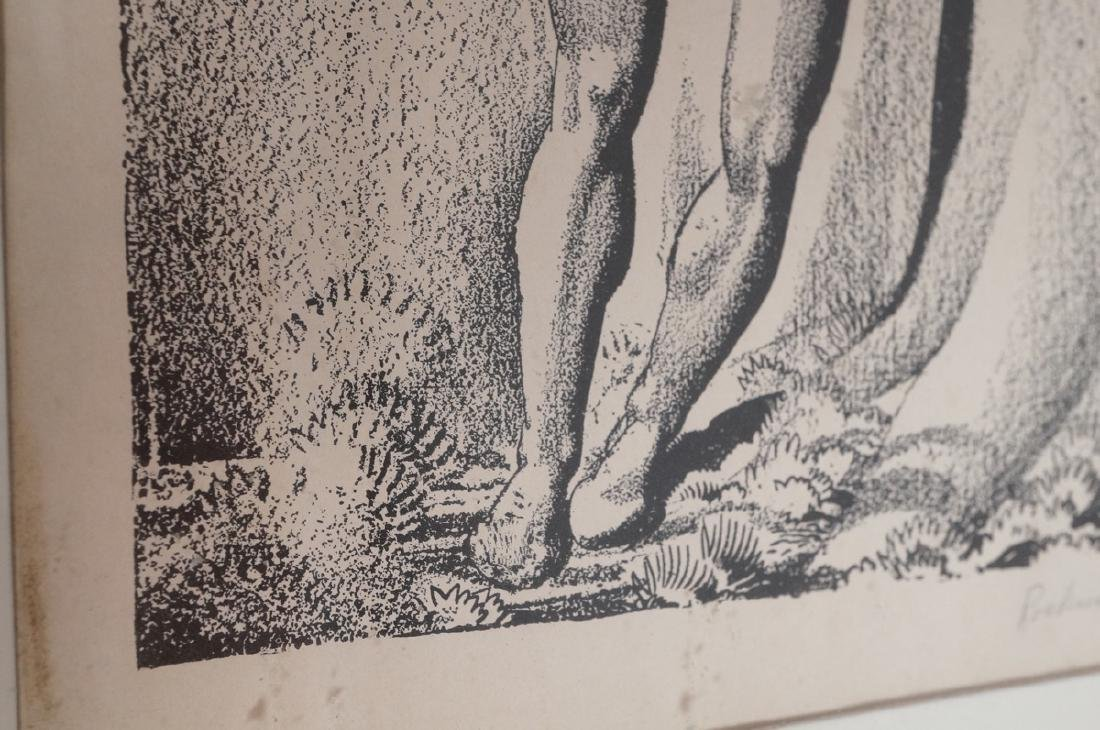 ROCKWELL KENT Pencil Signed Lithograph. Man carvi - 5