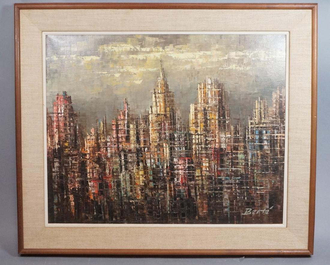 BERTE Modernist Abstract Cityscape Oil Painting.