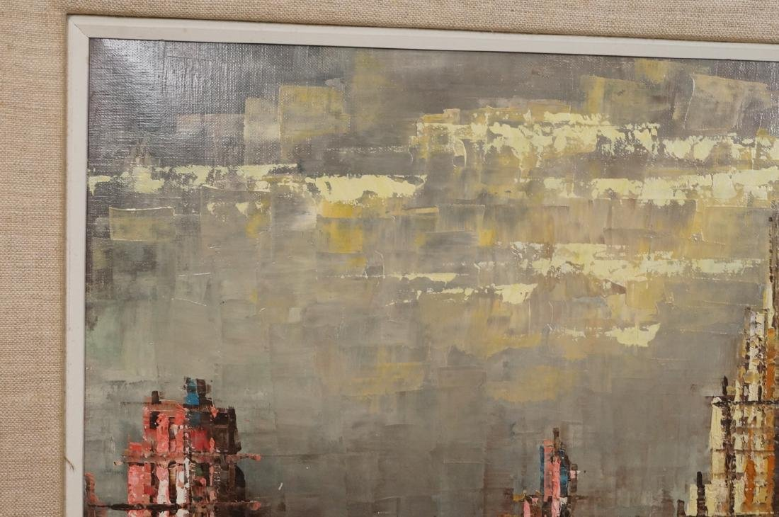 BERTE Modernist Abstract Cityscape Oil Painting. - 3