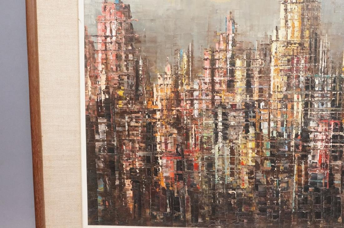 BERTE Modernist Abstract Cityscape Oil Painting. - 4