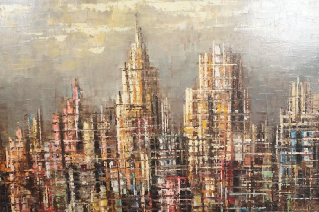 BERTE Modernist Abstract Cityscape Oil Painting. - 5