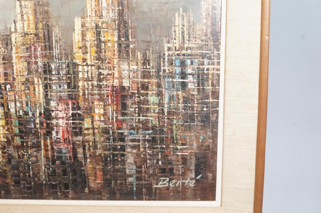 BERTE Modernist Abstract Cityscape Oil Painting. - 6