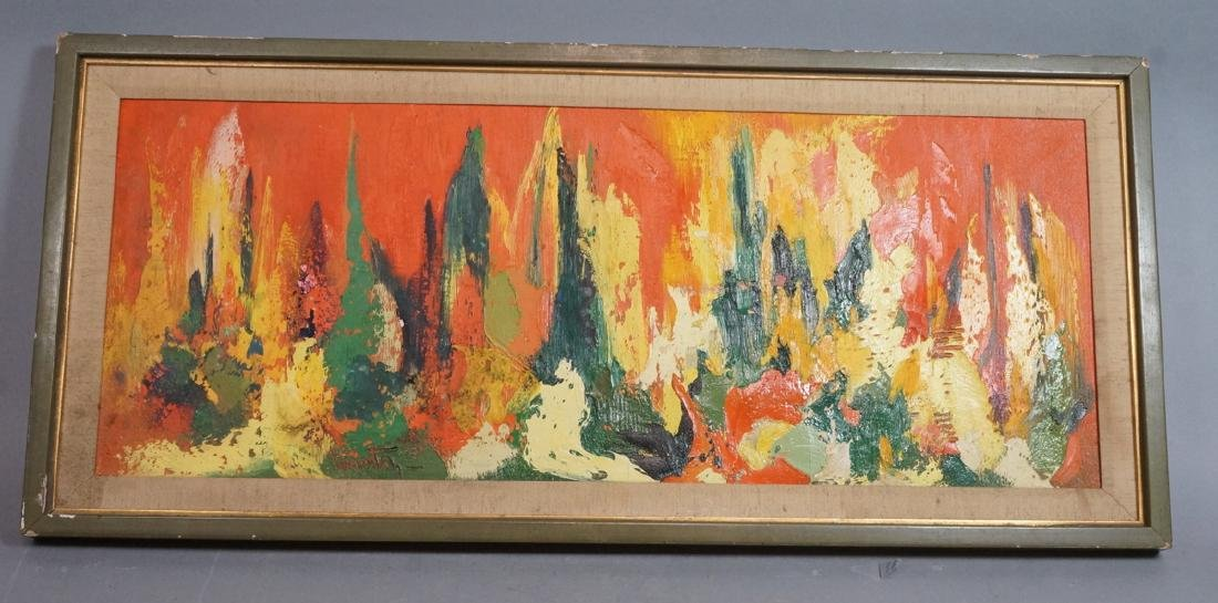 Signed Modernist Abstract Oil Painting Orange Gre