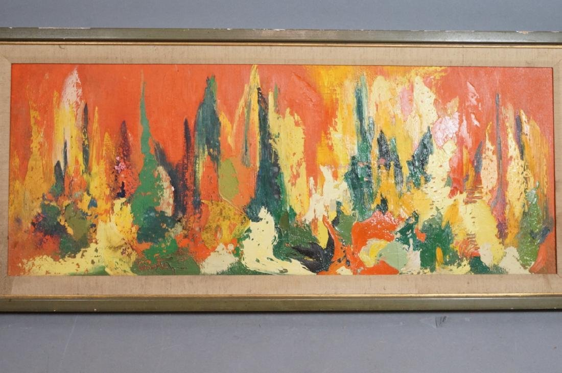 Signed Modernist Abstract Oil Painting Orange Gre - 3