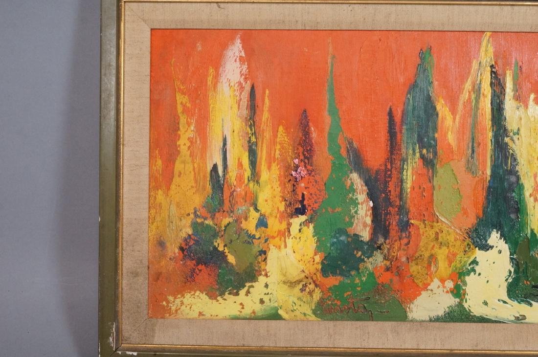 Signed Modernist Abstract Oil Painting Orange Gre - 4