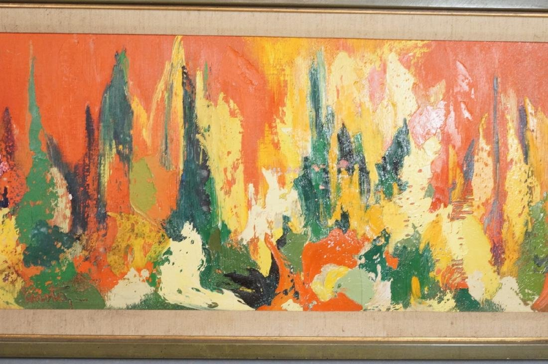 Signed Modernist Abstract Oil Painting Orange Gre - 5