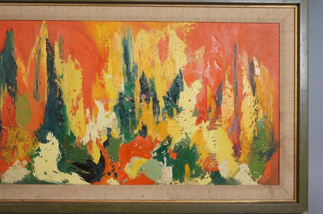 Signed Modernist Abstract Oil Painting Orange Gre - 6