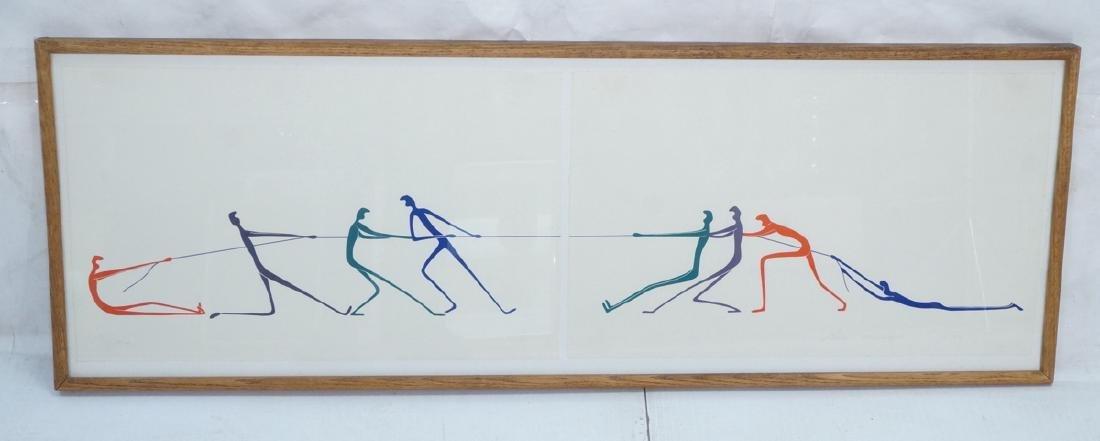 Graphic Figural Silkscreen Print. 2 parts 'Tug of