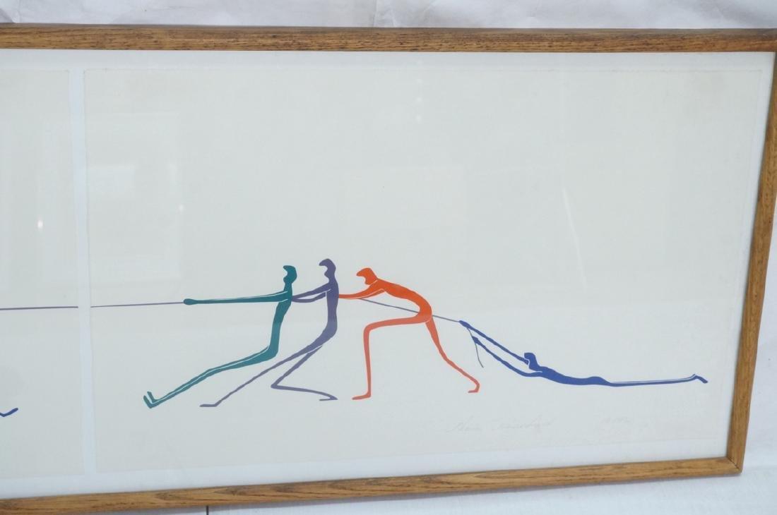 Graphic Figural Silkscreen Print. 2 parts 'Tug of - 3