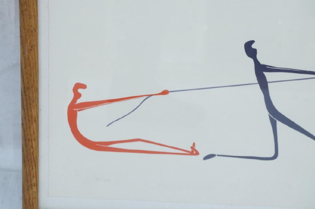 Graphic Figural Silkscreen Print. 2 parts 'Tug of - 4