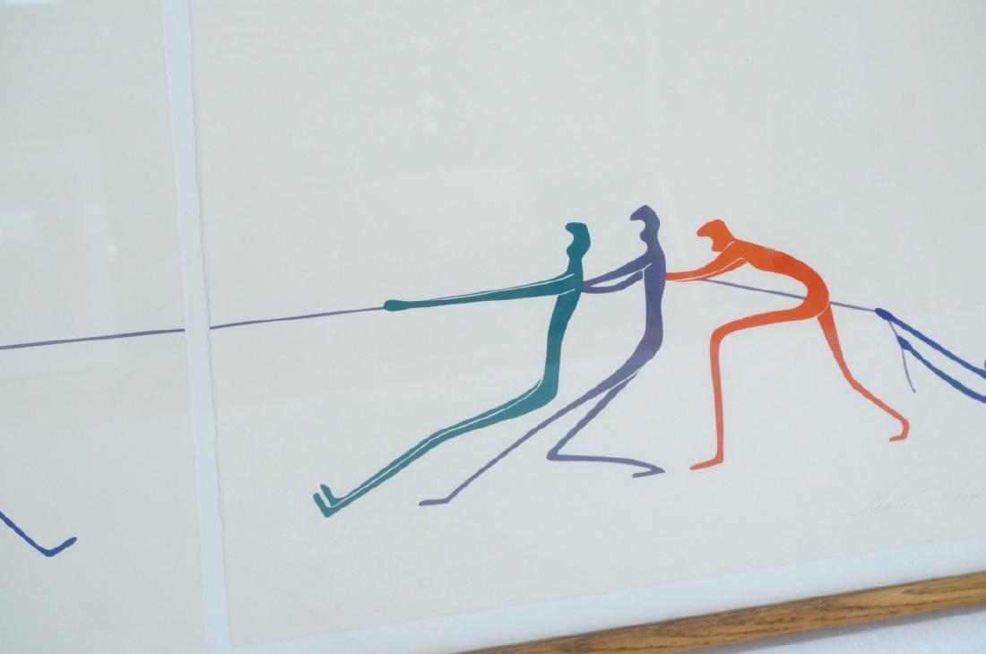 Graphic Figural Silkscreen Print. 2 parts 'Tug of - 6