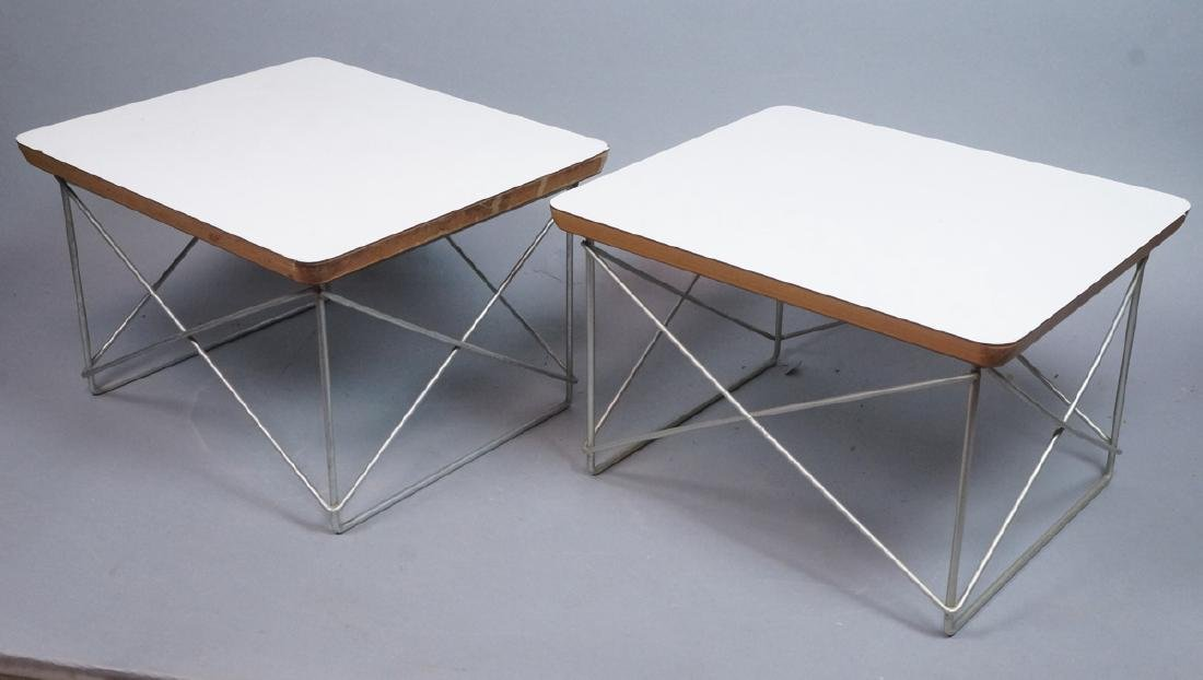 Pr CHARLES EAMES Wire Frame Table LTR Model. Whit