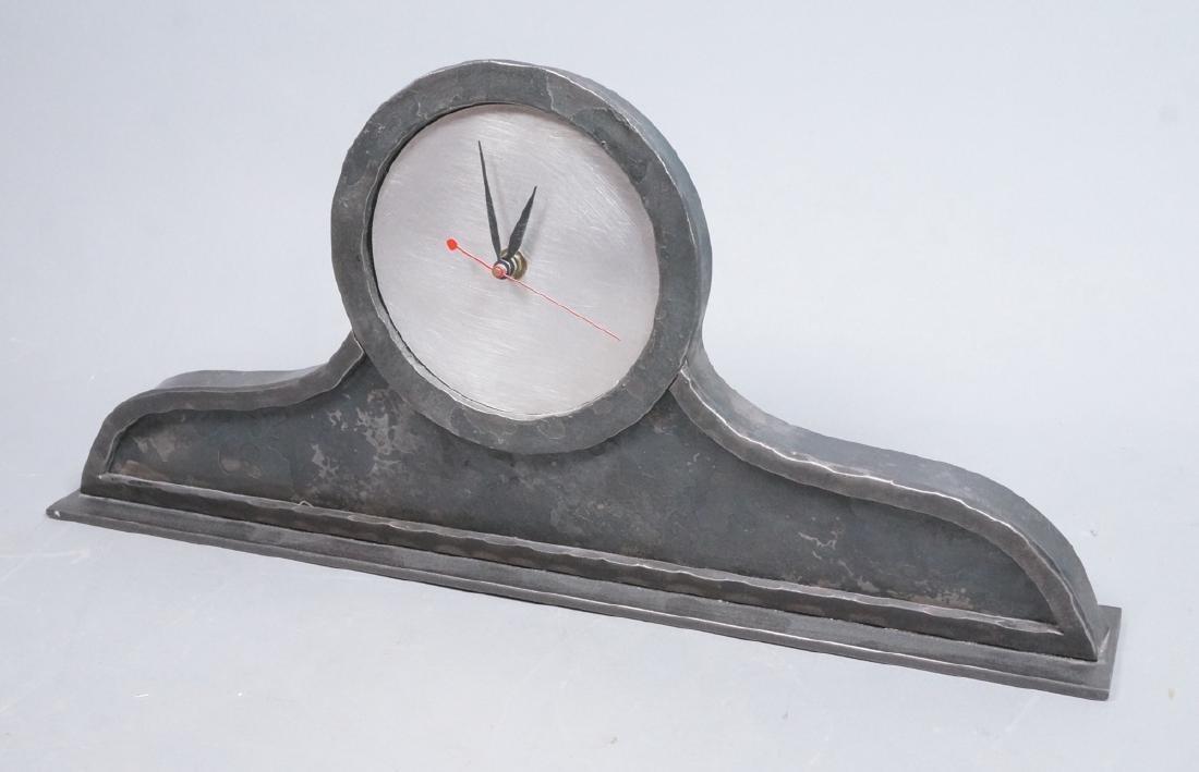 STEVE BECK Stainless & Steel Modern Mantle Clock.