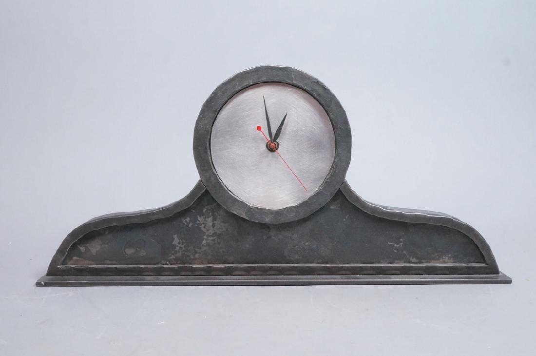 STEVE BECK Stainless & Steel Modern Mantle Clock. - 2