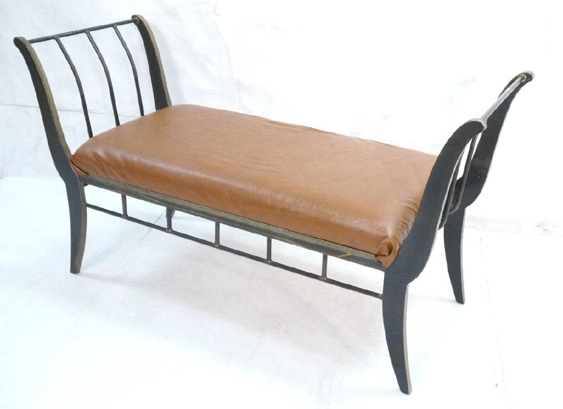 Campaign Style Decorator Heavy Iron Bench. Modern