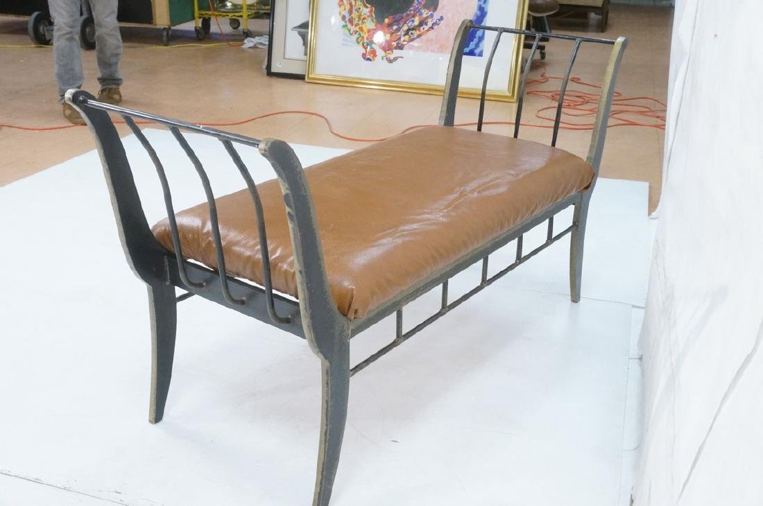 Campaign Style Decorator Heavy Iron Bench. Modern - 6