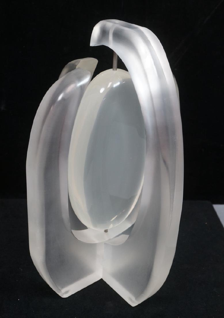 Modern Frosted Lucite Table Sculpture. 4 bowed ar