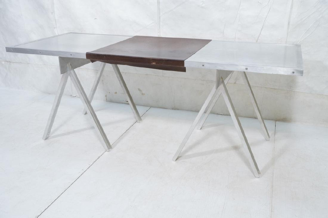 Modern Large Stainless & Aluminum Dining Table De