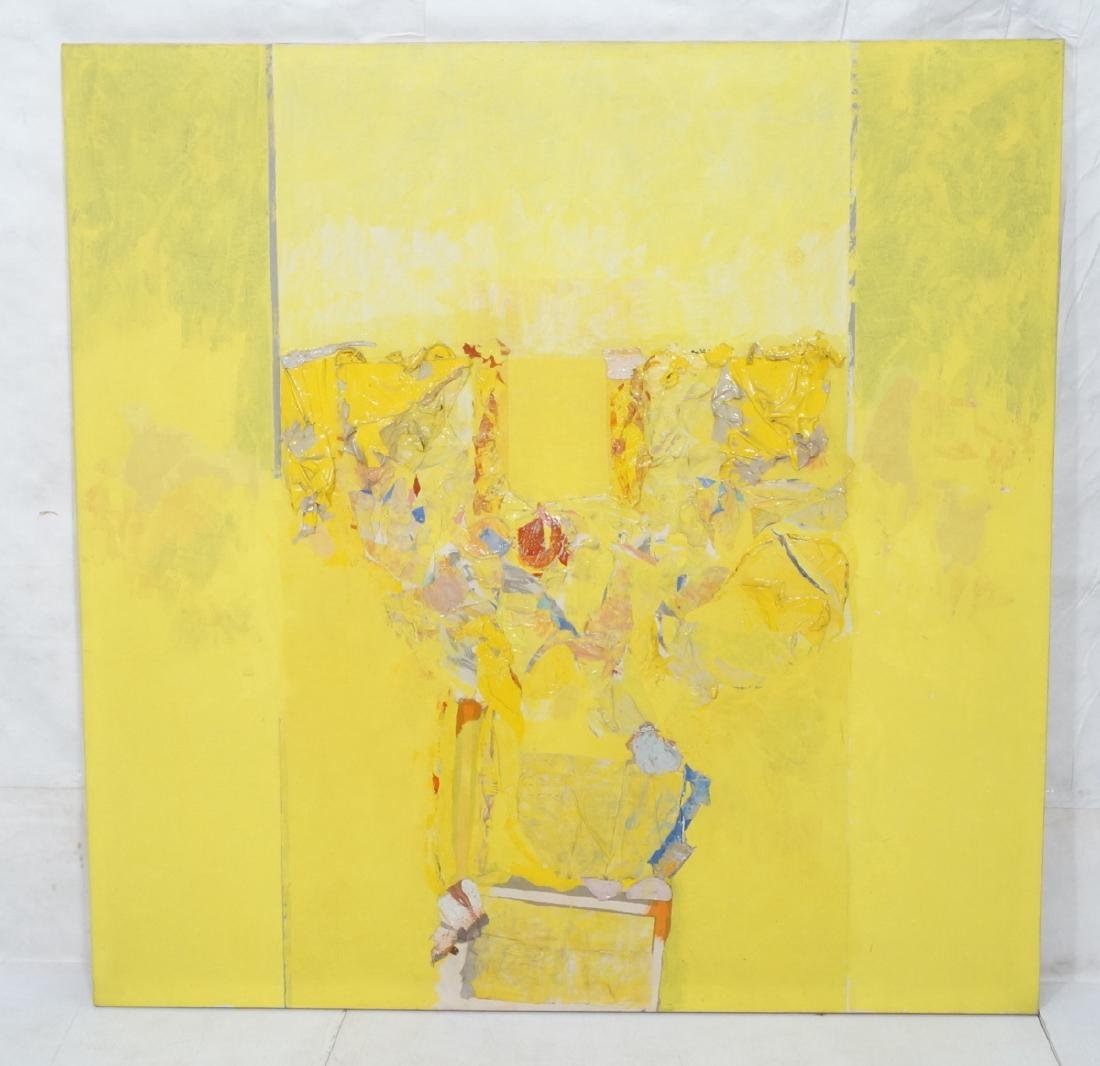 Large Modernist Abstract Yellow Oil Painting. HEC