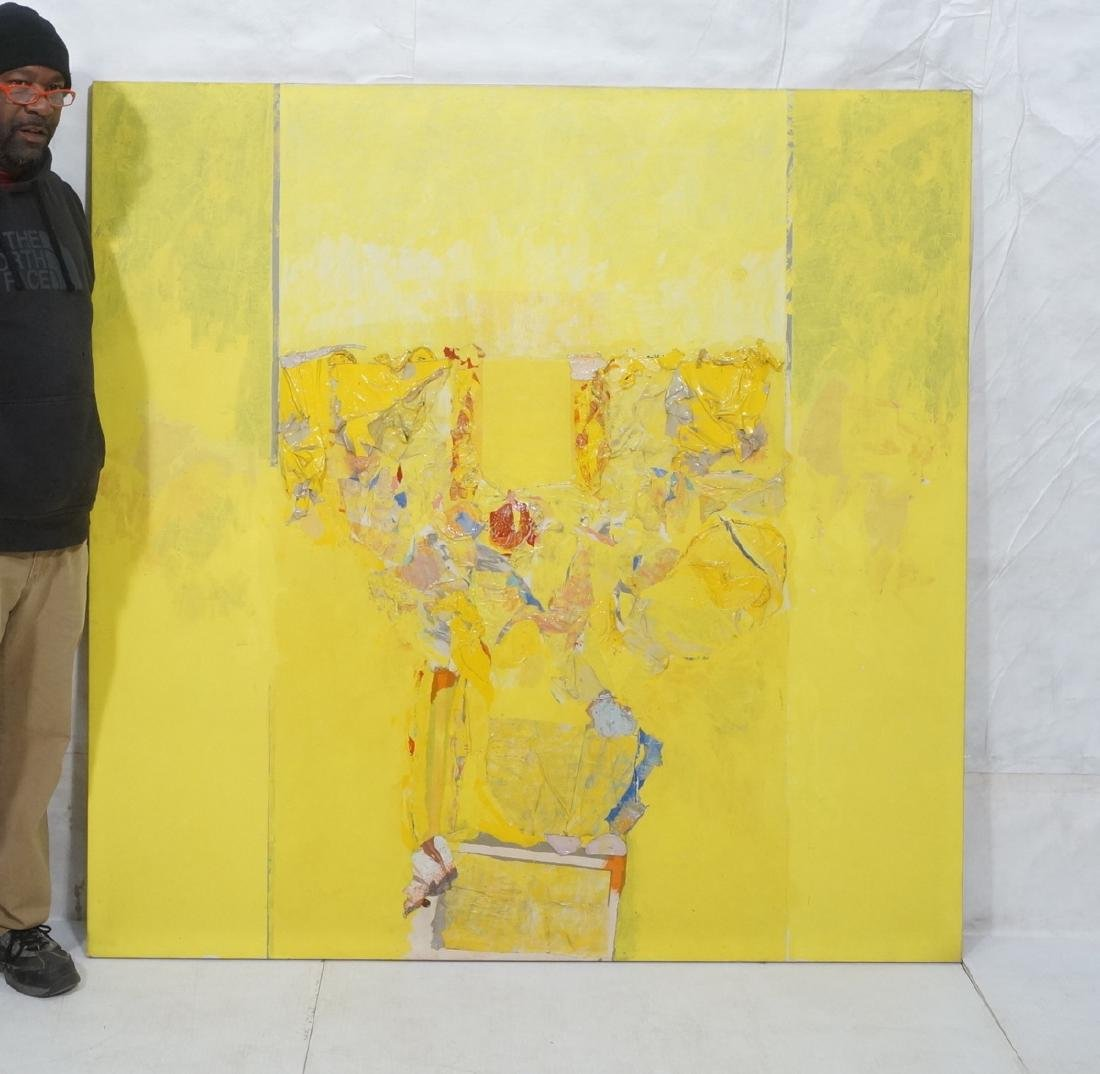 Large Modernist Abstract Yellow Oil Painting. HEC - 2