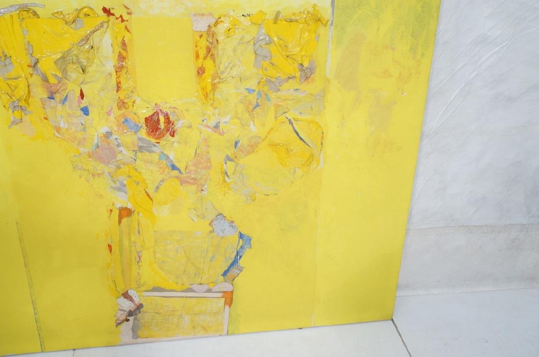 Large Modernist Abstract Yellow Oil Painting. HEC - 5