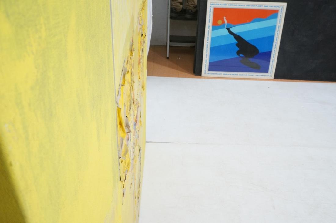 Large Modernist Abstract Yellow Oil Painting. HEC - 8