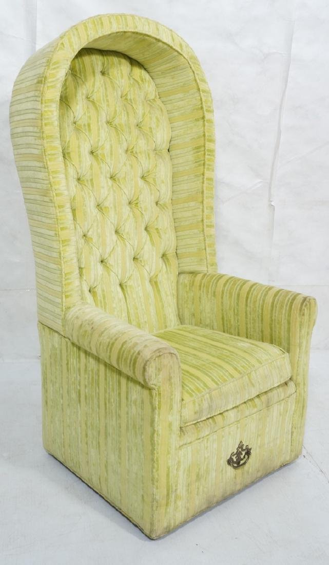 Modernist BERNHARDT Hooded Lounge Chair. Lime & Y