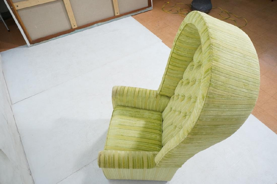 Modernist BERNHARDT Hooded Lounge Chair. Lime & Y - 4