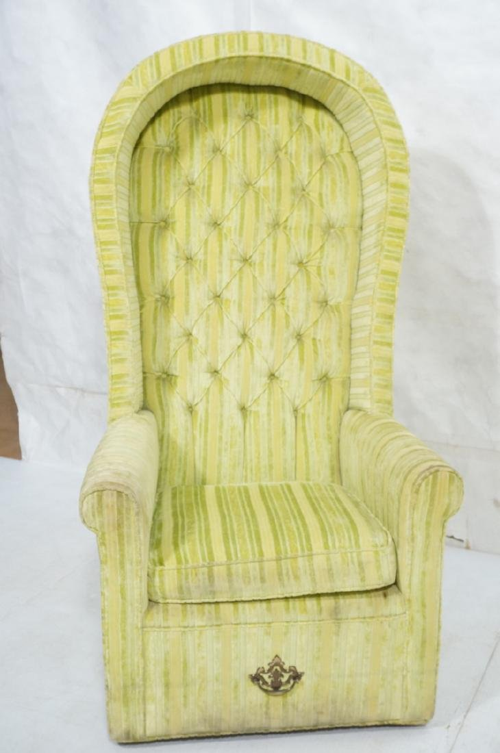 Modernist BERNHARDT Hooded Lounge Chair. Lime & Y - 8