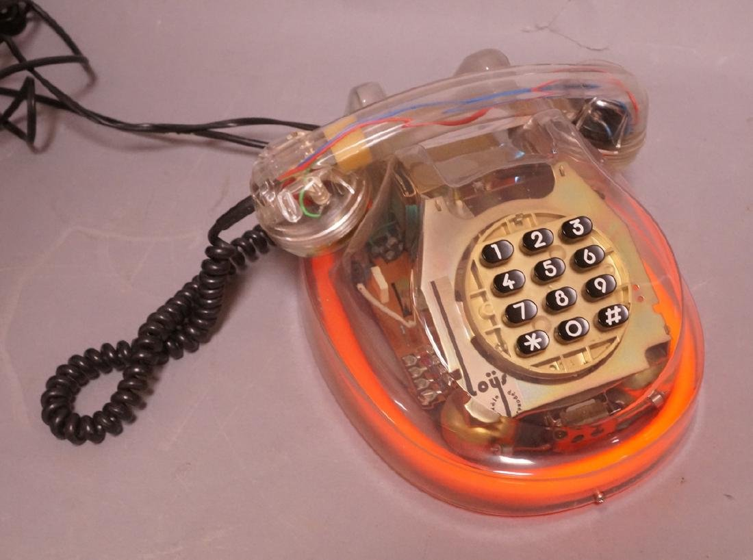 LOYS French Lucite Neon Telephone. 1986. Clear lu