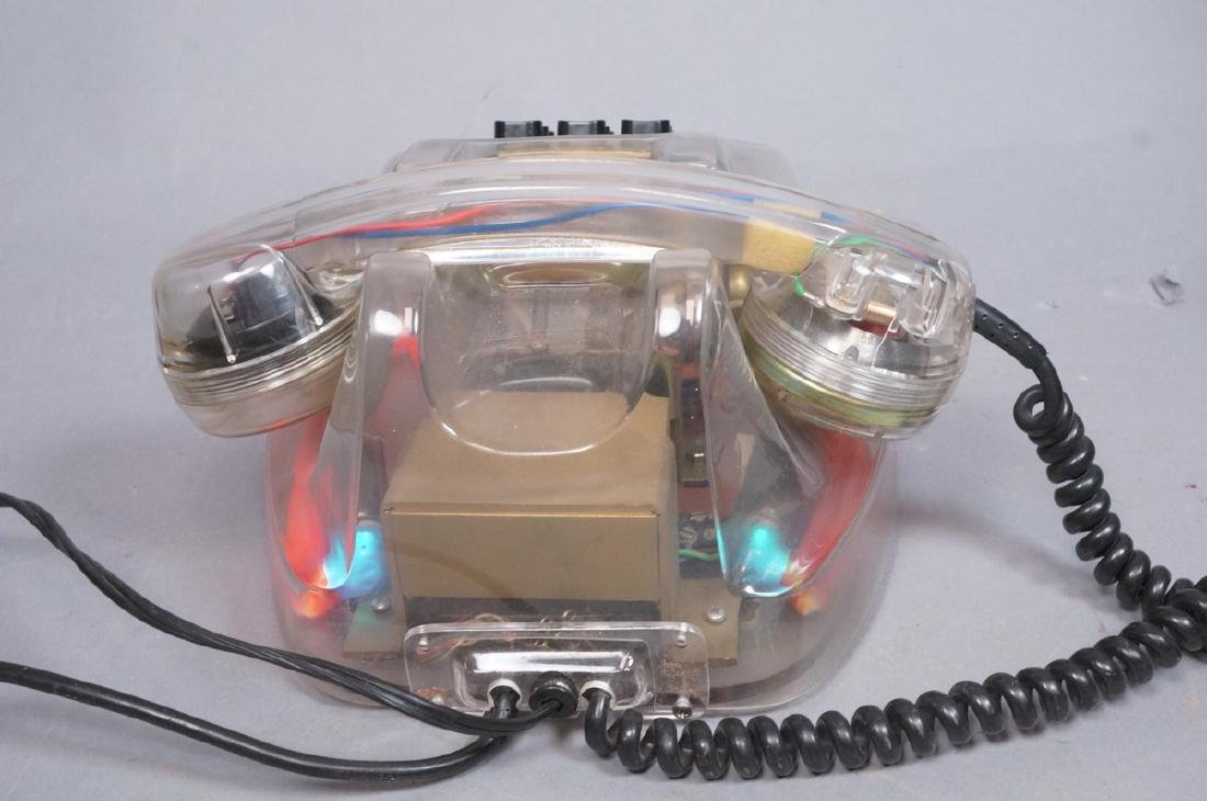 LOYS French Lucite Neon Telephone. 1986. Clear lu - 2
