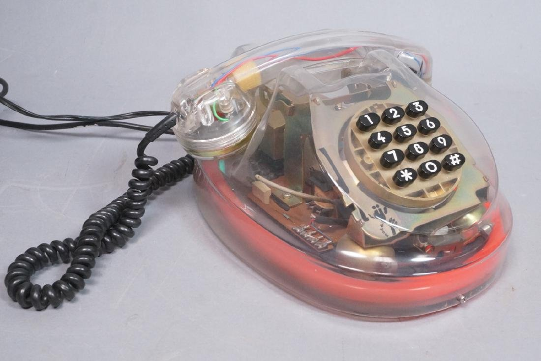 LOYS French Lucite Neon Telephone. 1986. Clear lu - 3