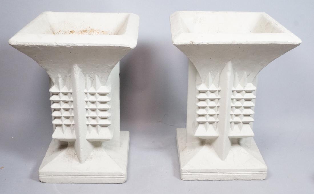 Pr FRANK LLOYD WRIGHT style Concrete Planters. Ta