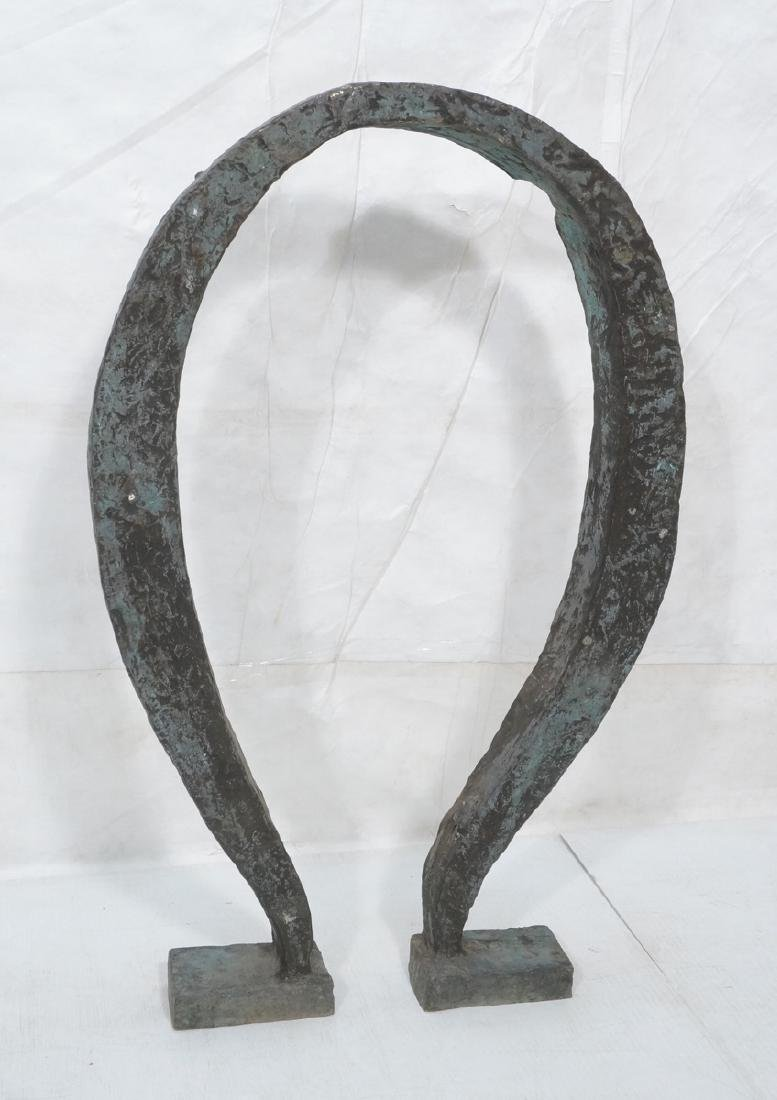 Industrial Omega Shaped Bronze Sculpture. Raw tex